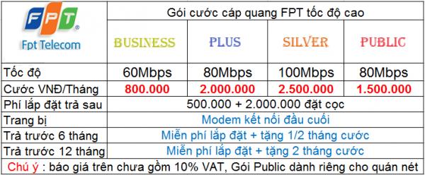 Bảng giá lắp mạng FPT dành cho doanh nghiệp ở Quận Bình Thạnh.