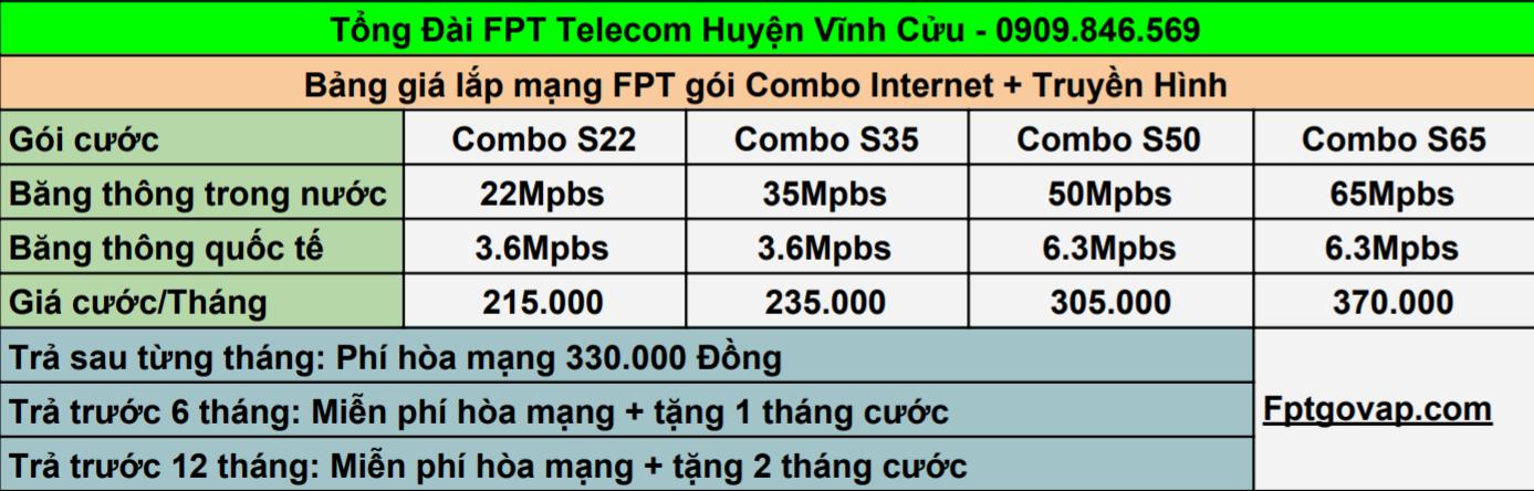Bảng giá lắp combo FPT ở Huyện Vĩnh Cửu.