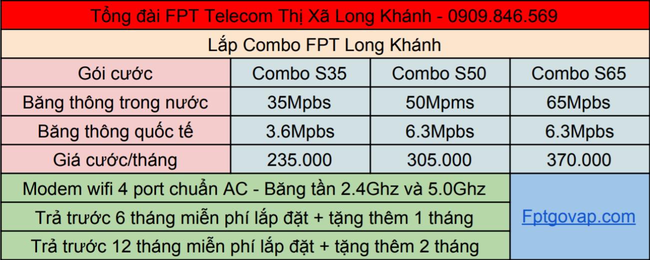 Bảng giá lắp combo FPT ở Long Khánh.