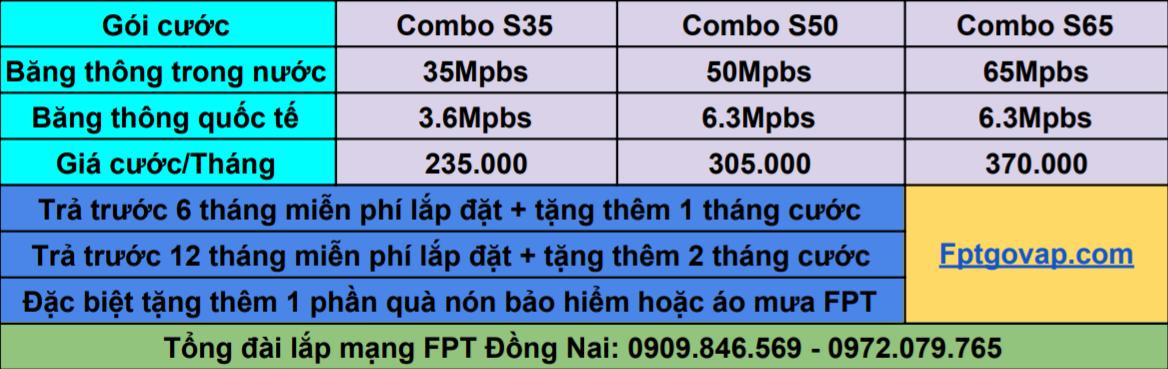 Bảng giá combo của nhà mạng FPT Huyện Long Thành.