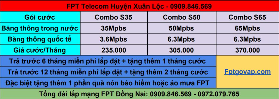 Bảng giá lắp combo FPT ở Xuân Lộc.