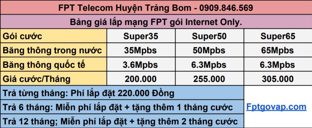 Bảng giá lắp internet FPT ở Huyện Trảng Bom.
