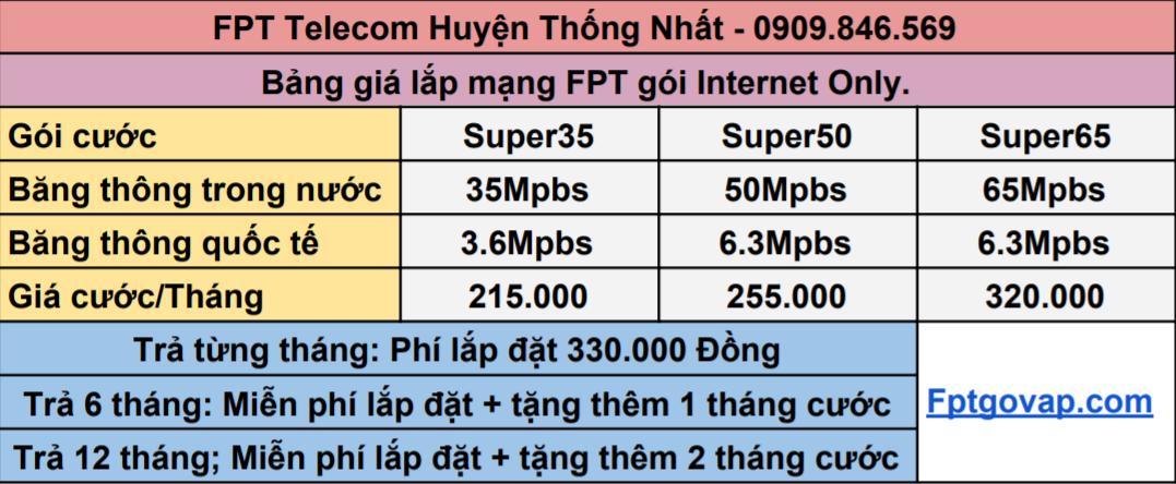 Bảng giá lắp mạng FPT gói internet only ở Huyện Thống Nhất.