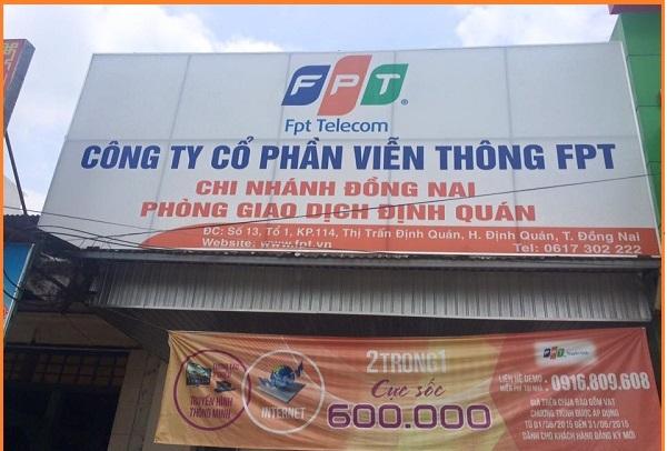 Chi nhánh lắp mạng FPT ở Huyện Định Quán.