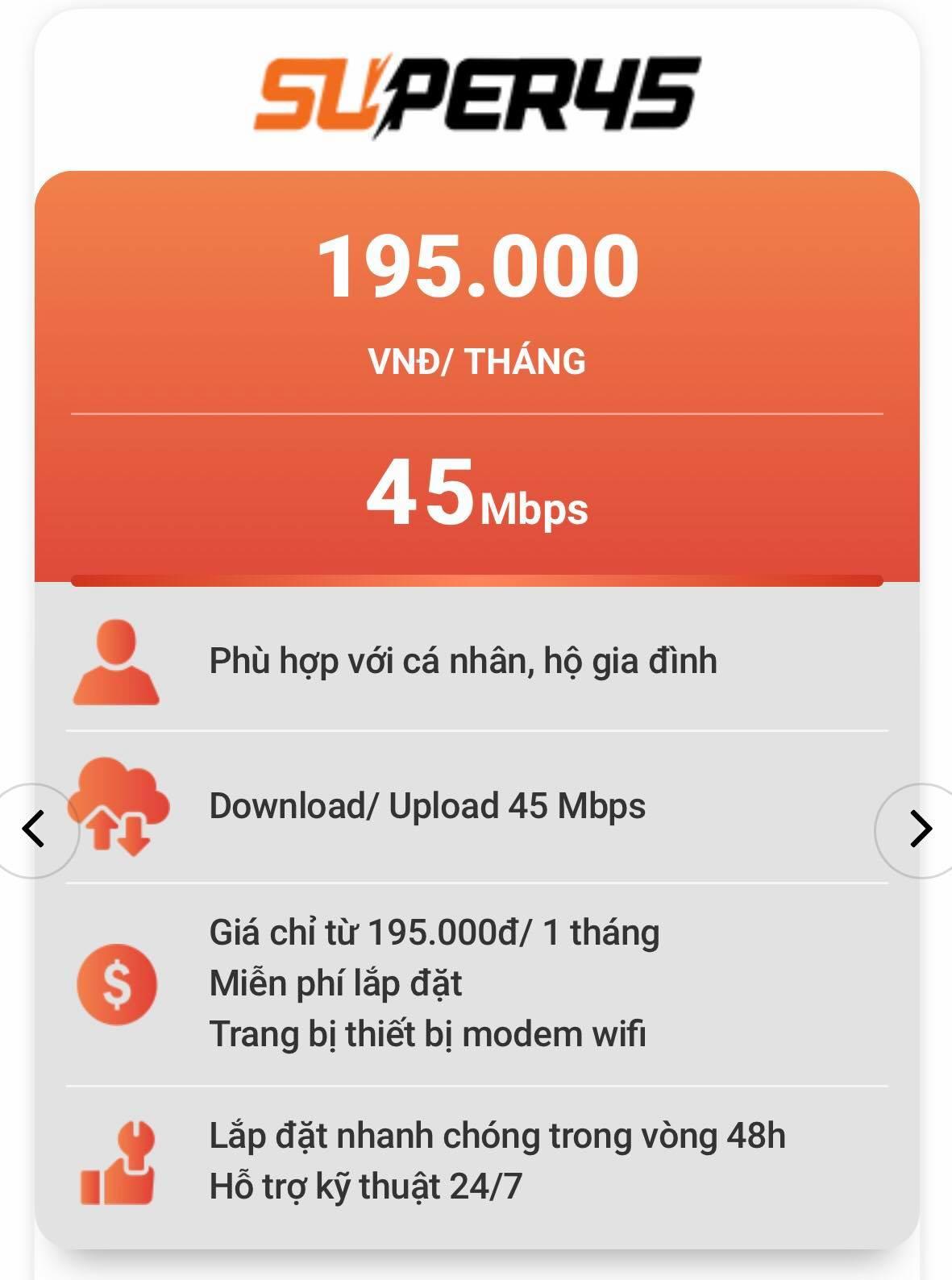 Gói cước FPT Quận Gò Vấp thông dụng nhất - Super45
