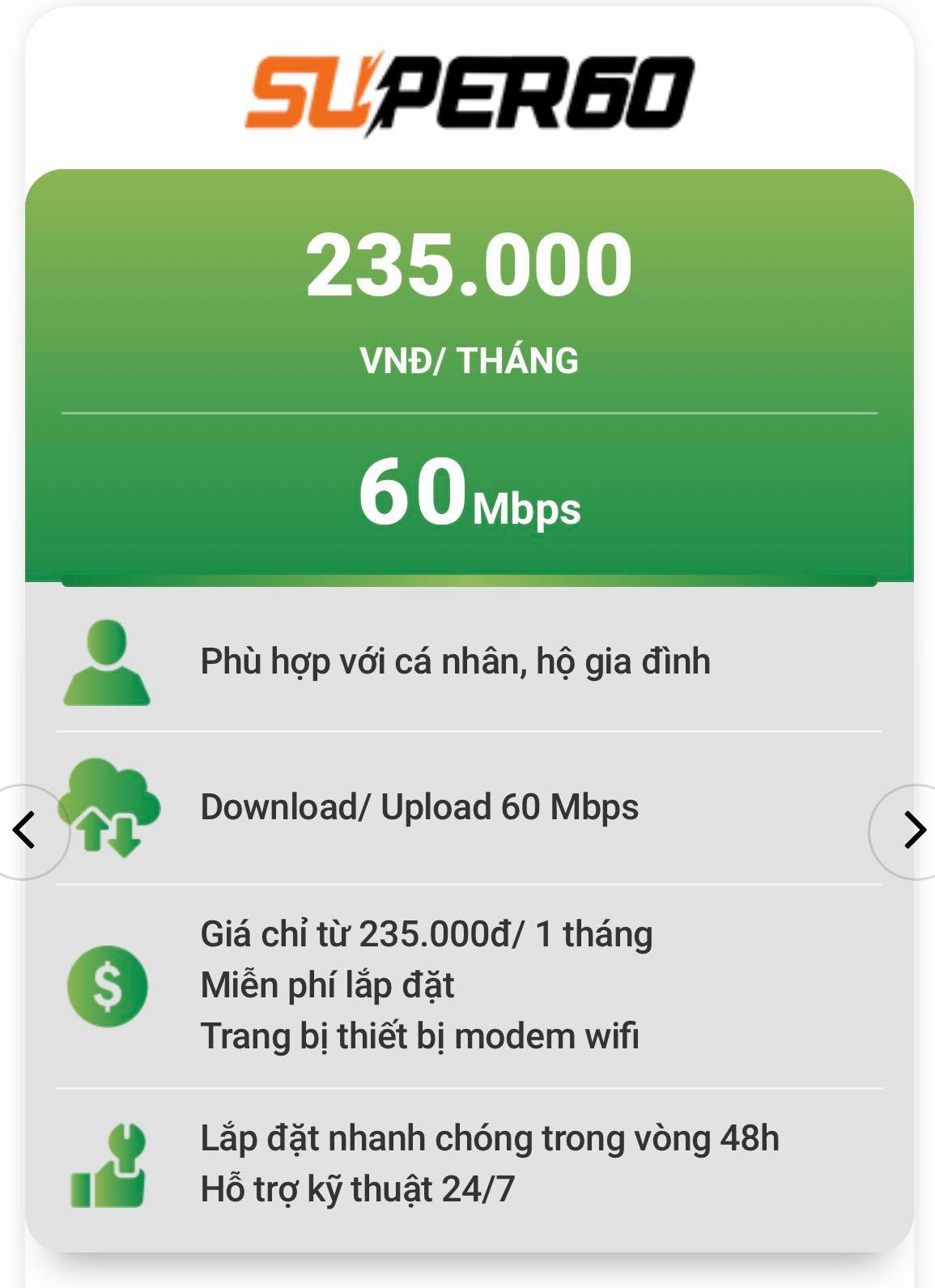 Gói cước internet FPT tốc độ cao 60Mpbs.