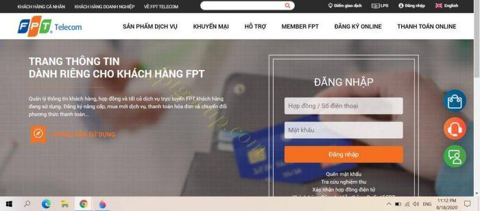 Giao diện đăng nhập trang chủ fpt.vn.