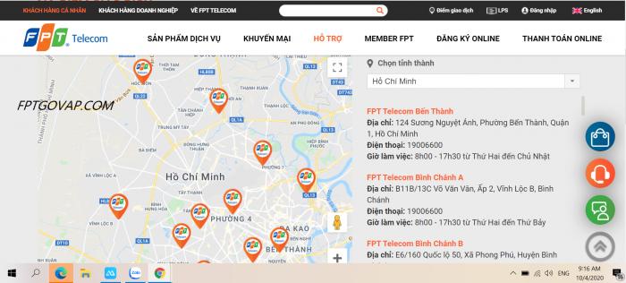 Truy cập FPT.VN để tìm kiếm các chi nhánh FPT Telecom gần nhất.