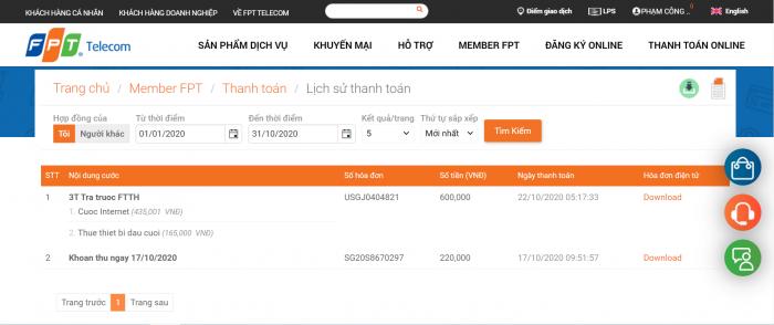 Khách hàng có thể lấy hóa đơn điện tử FPT trên FPT.VN.
