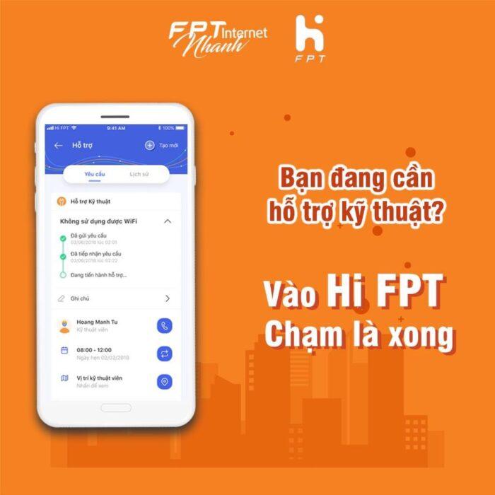 Ứng dụng HI FPT cho phép khách hàng tạo bảo trì, sửa chữa khi mạng FPT bị hỏng.