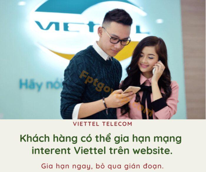 Khách hàng có thể gia hạn internet qua trang chủ Viettel Telecom.